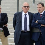 From left, David Hinkins, Mike Noel, and Utah Gov. Gary Herbert, hold a news conference about a proposed national monument in the Bears Ears area of southeastern Utah at the state Capitol on Tuesday, May 17, 2016, in Salt Lake City.
