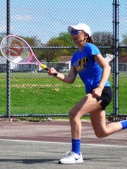 RU's Haley Hebner hits a ground stroke in her No. 4 singles match victory vs. Garden City.