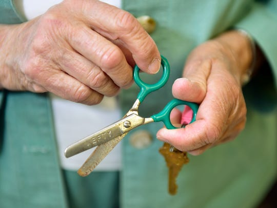 Left-hand scissors used by elementary students 50 years