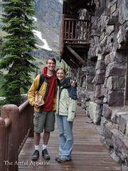 Karl Hoeschen and Kate Minor circa July 2010 stand in front of Sperry Chalet where they spent a night of their honeymoon.