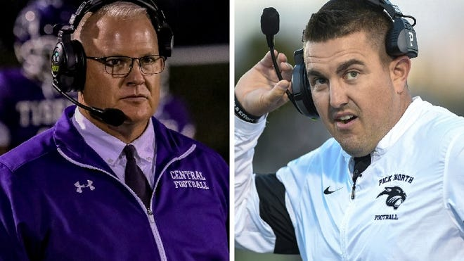 Pickerington Central coach Jay Sharrett and Pickerington North coach Nate Hillerich will see their teams match up Aug. 30 if football is approved by Gov. Mike DeWine.