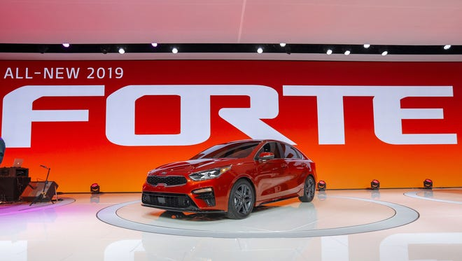 The 2019 Kia Forte is introduced during the 2018 North American International Auto Show in Detroit Jan. 15.