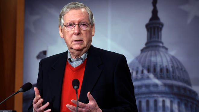 Senate Majority Leader Mitch McConnell of Ky., speaks during a news conference on Capitol Hill in Washington, Monday, Dec. 12, 2016.