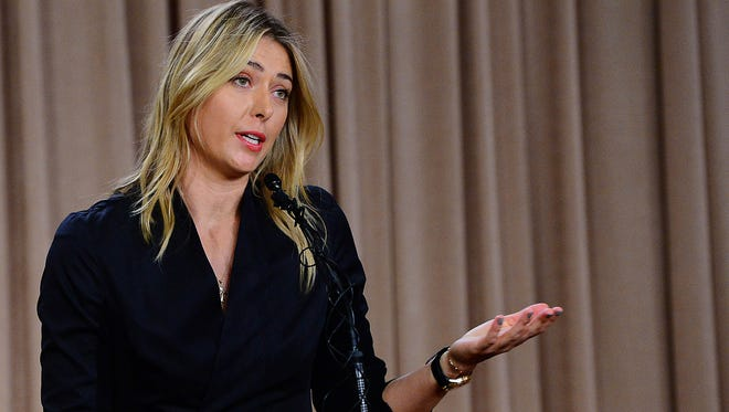 Maria Sharapova speaks to the media announcing she failed drug test after the Australian Open.