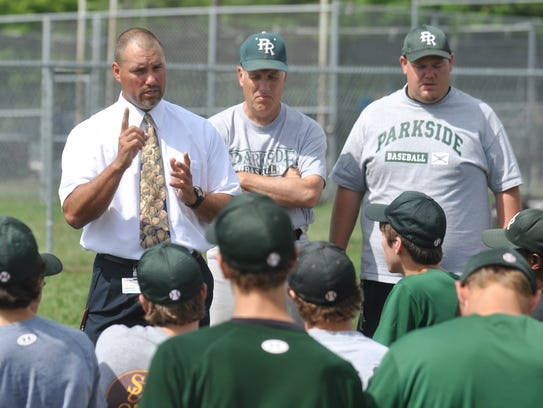 Parkside head coach Brian Hollamon, left, and assistant