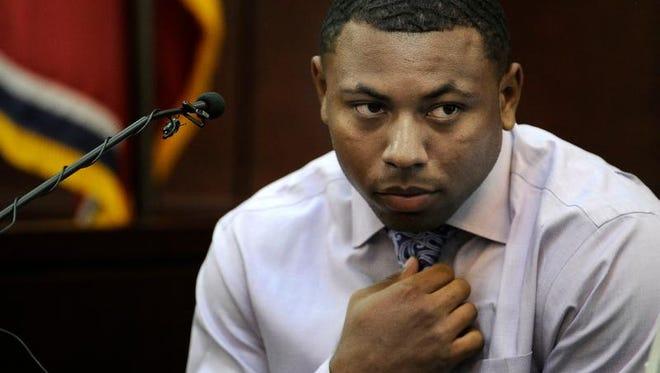 """Jaborian """"Tip"""" McKenzie testifies during the Vanderbilt rape trial on Tuesday in Nashville."""
