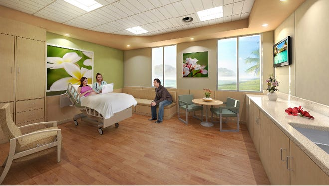 An artist rendering of a room in the Guam Memorial Hospital Family Birth Center.