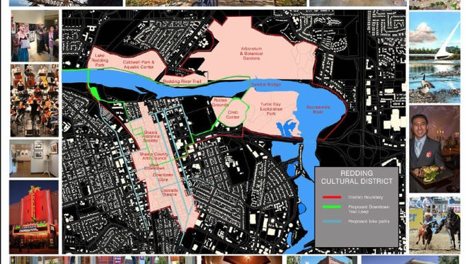The Redding Cultural District map by Shasta County Arts Council