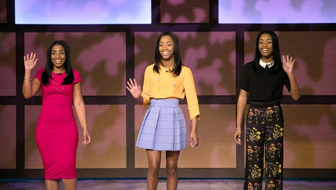 "Tina Brown (from left), Kyla Mahomes and Kaylan Mahomes appear on ""Steve Harvey."""