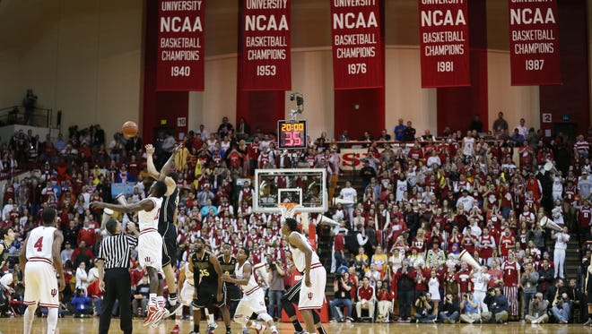 Indiana and Purdue tipoff in front of the famed championship banners at Assembly Hall. Indiana hosted Purdue at Assembly Hall on Thursday, February 19, 2015.