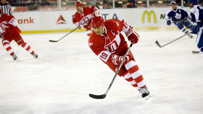 Steve Yzerman skates for the Red Wings during the Detroit-Toronto alumni game at Comerica Park on Dec. 31, 2013.