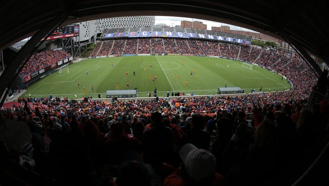 More than 20,000 fans attended the USL soccer game between the Pittsburgh Riverhounds and FC Cincinnati, Saturday, May 14, 2016, at Nippert Stadium in Cincinnati.