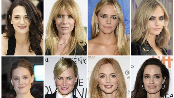 Actresses Asia Argento, top row from left, Rosanna Arquette, Jessica Barth, Cara Delevingne, Romola Garai, Judith Godreche, Heather Graham, Angelina Jolie, Ashley Judd, Rose McGowan, Lea Seydoux and Mira Sorvino have made sexual misconduct allegations against producer Harvey Weinstein.