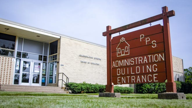 The entrance to the Peoria Public Schools Administration Building is seen in Peoria as photographed on Monday, May 23, 2016.