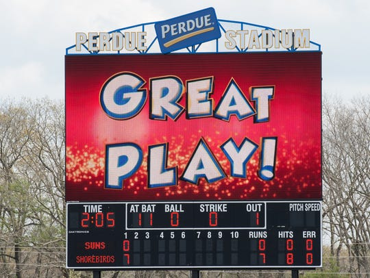 A view of the new scoreboard at Arthur W. Perdue Stadium