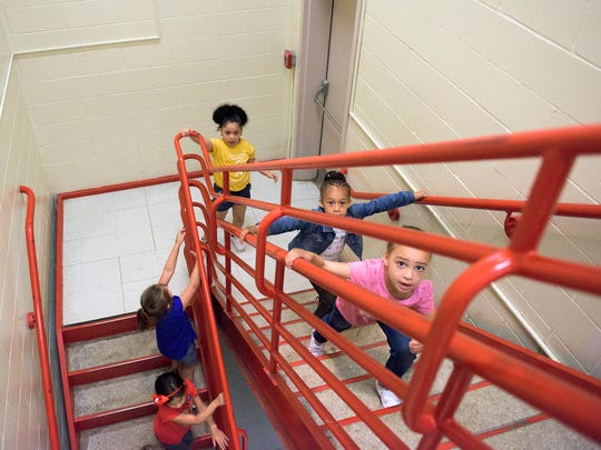 Students from R.D. Wood School tour their future school, Rieck Avenue Elementary.