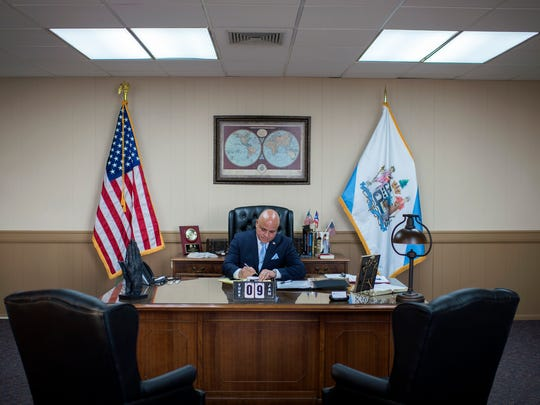 Camden Mayor Frank Moran at his City Hall office Tuesday,