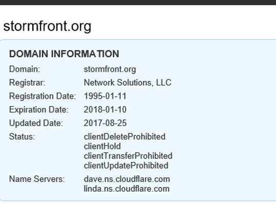 A screenshot from domain database querying service