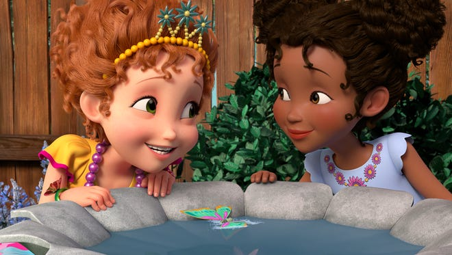 """Nancy finds a butterfly she wants to keep in the episode """"Bonjour Butterfly,"""" airing Friday, July 13 on Disney Junior."""