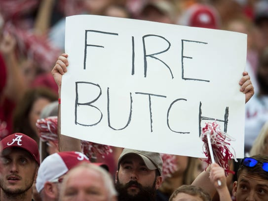 A fan holds a sign during the Tennessee vs. Alabama