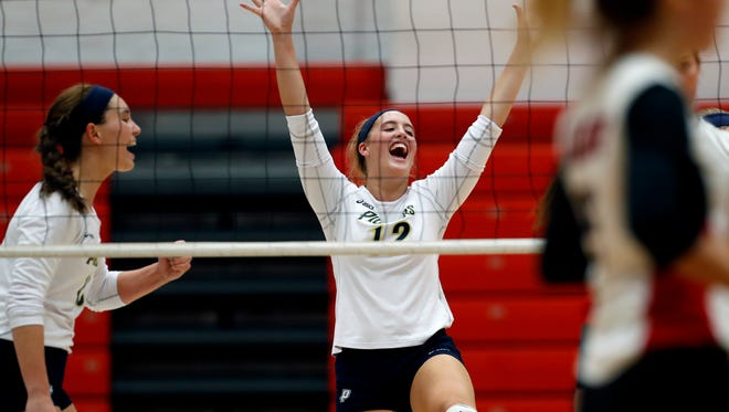 Providence's Marissa Hornung celebrates after the Pioneers scored against the New Albany Bulldogs. Aug. 29, 2017