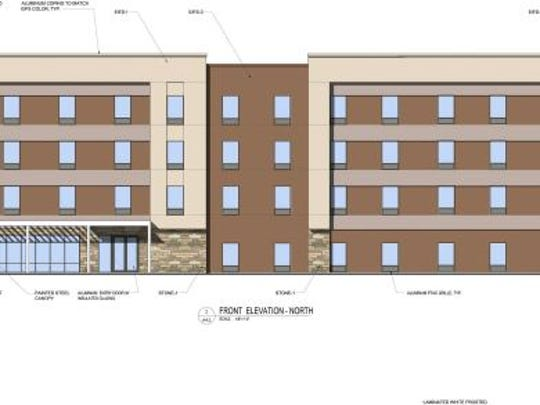 A computer -aided design of the Home2 Suites by Hilton