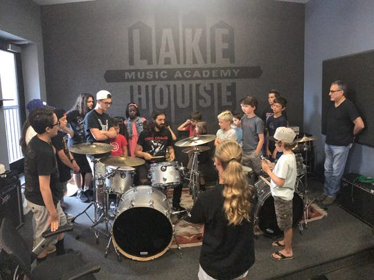 Jay (l) and Max Weinberg hold a drum clinic at the Lakehouse Music Academy in Asbury Park on Friday, July 14.