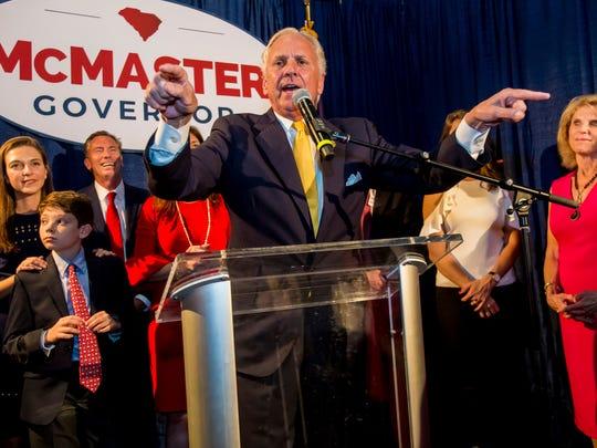 South Carolina Gov. Henry McMaster speaks at his election