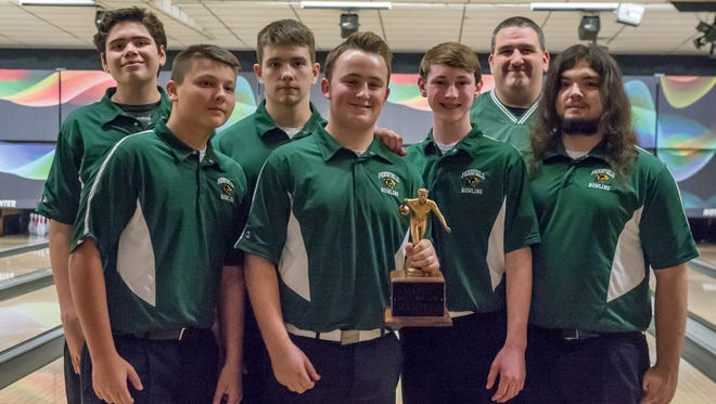 The Pennfield boys bowling team at the All-City Bowling Tournament on Dec. 10, 2015.