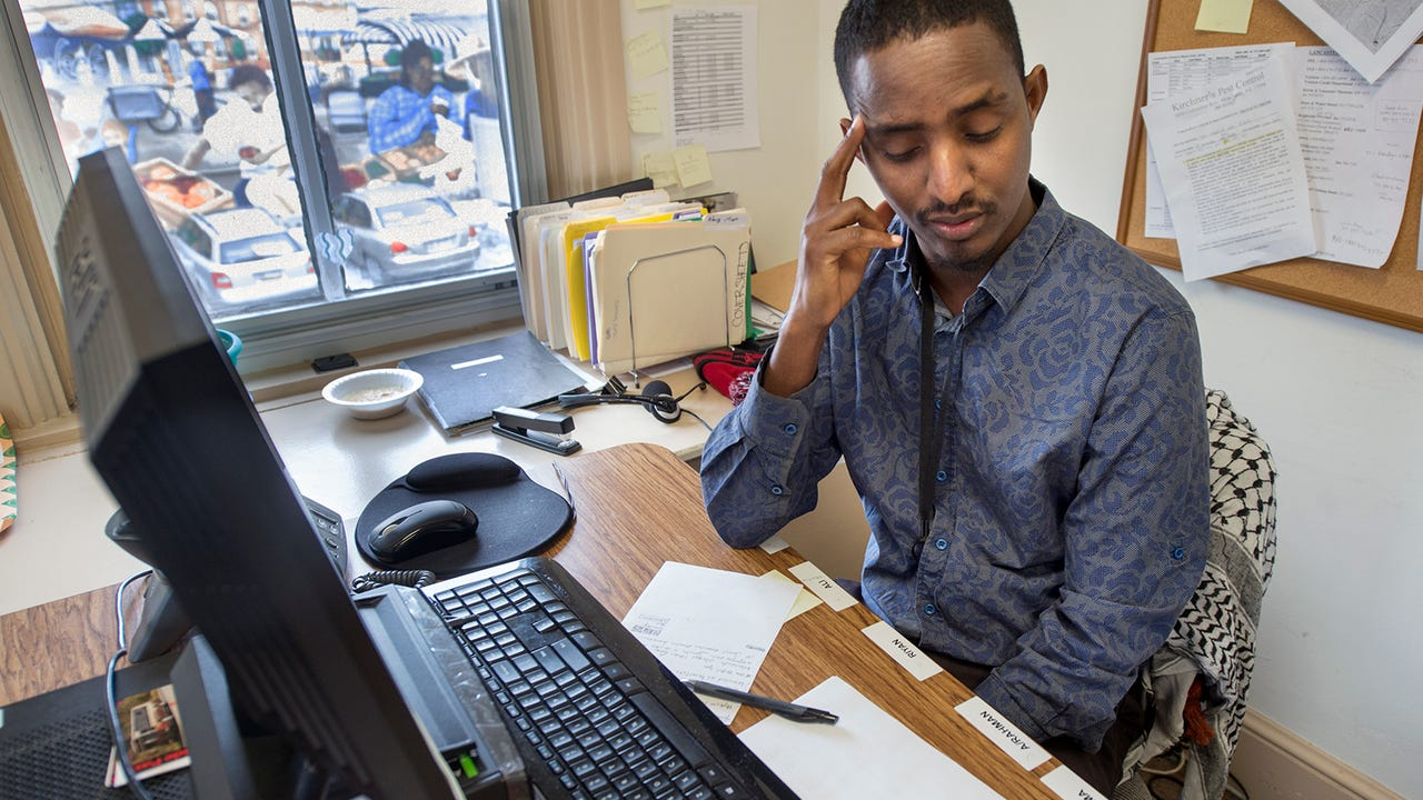Omar Mohamed, is a Somalian refugee who spent over 15 years in a Kenyan refugee camp. He tends to lean Republican, but doesn't feel welcome in the party. He is also Muslim.