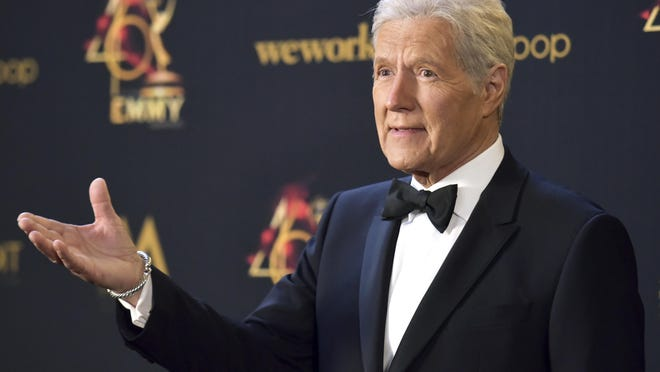 Alex Trebek poses in the press room at the 46th annual Daytime Emmy Awards at the Pasadena Civic Center on May 5, 2019, in Pasadena, Calif.