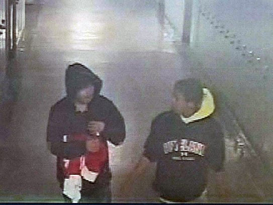This surveillance footage still shows two suspects