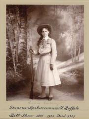 A 1900 photograph of the sharpshooter Annie Oakley is part of the collection at the Buffalo Bill Museum in Golden, Colorado. Oakley was part of the Buffalo Bill Cody's Wild West Show.