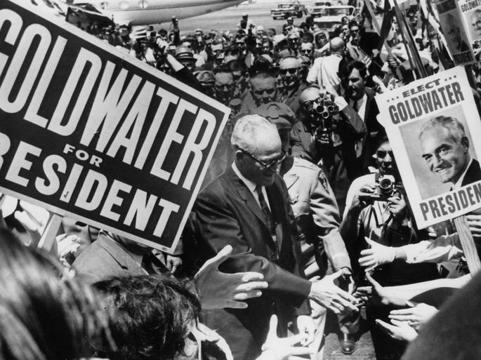barry goldwater and historic campaign ads The goldwater takedown barry goldwater but the most striking echo of the goldwater campaign is in a media that often functions as an adjunct to the.