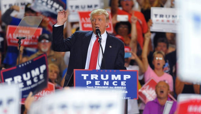 Republican presidential nominee Donald Trump fired up supporters during a Sept. 27, 2016, rally held at the AeroMod International aircraft hanger at Orlando Melbourne International Airport.