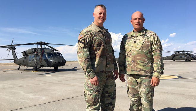 Lt. Col. Richard M. Zygadlo, left, and Command Sgt. Maj. Howard A. Wright III lead the 2-501st. Both will relinquish their positions on June 22 and retire.