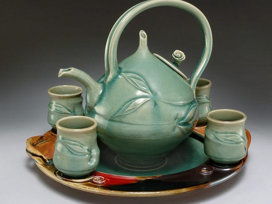 2-Higinbotham , Celadon Tea Service 20 x 15 x 14 inch, ceramics