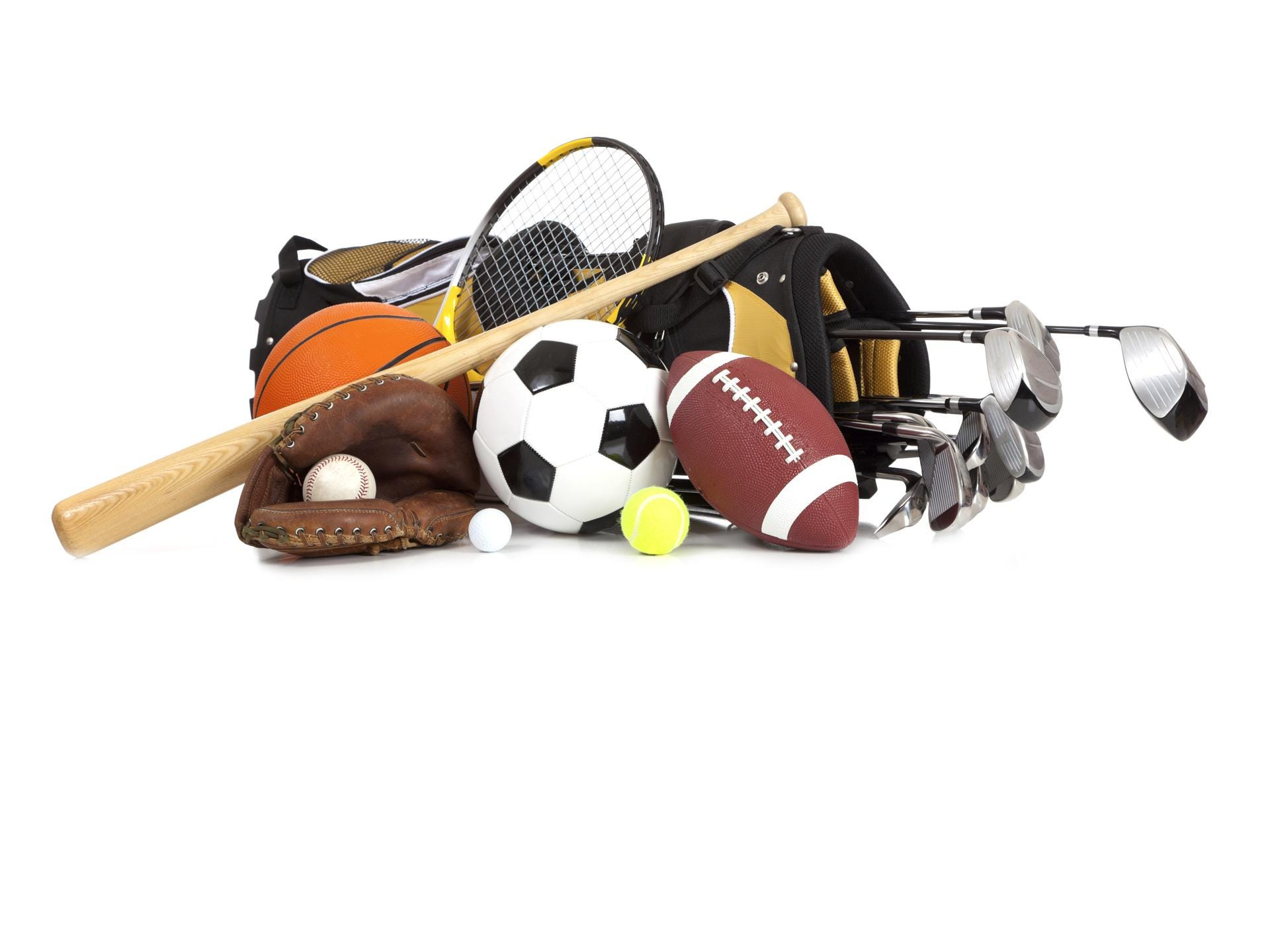 Assorted sports equipment on a white background