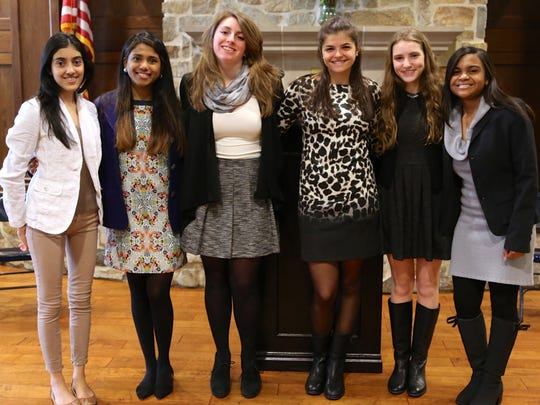 The student-scholar participants in Kent Place Schoolk's Bioethics Project are, from left to right, Natasha Sharma of Westfield, Sara Ramaswamy of Chatham, Sarah Brigid Konefal of Montclair, Kristen Rusas of Basking Ridge, Lilah Connell of New Vernon and Regene Nolan of East Orange.