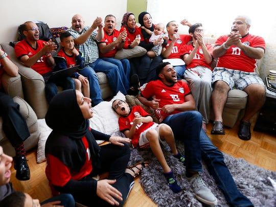 About 50 friends and family with Egyptian ties packed the home of Mokhtar and Amany Elhendy in Hanover Twp. to cheer on Egypt's national soccer team, known as The Pharaohs in the 2018 World Cup. June 15, 2018. Cedar Knolls, NJ
