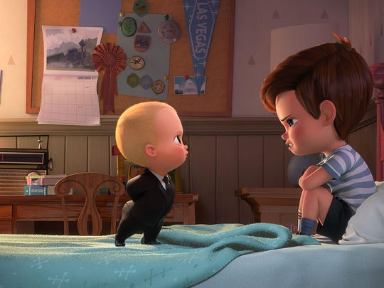 "Boss Baby (voiced by Alec Baldwin) tries to convince Tim (voiced by Miles Bakshi) that they must cooperate in ""The Baby Boss."""