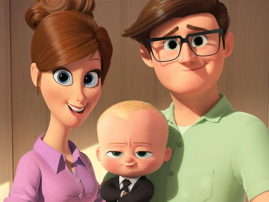 "Tim's mother (voiced by Lisa Kudrow) and father (voiced by Jimmy Kimmel) introduce him to Boss Baby (voiced by Alec Baldwin) in ""The Baby Boss."""