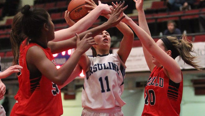 Penfield beat Ursuline 57-42 in a Slam Dunk Tournament semifinal at the Westchester County Center Dec. 28, 2015.