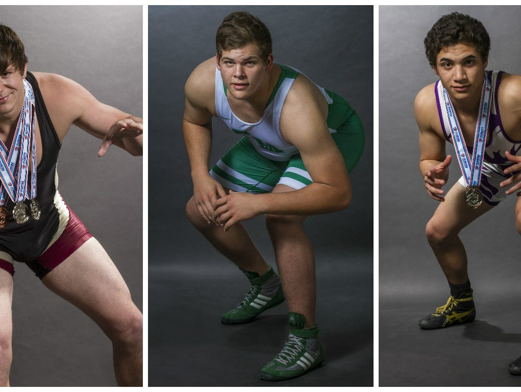 The News-Press Wrestler of the Year finalists are, from left, Jesse Pryor, Mike Delago, and Jalen Soto