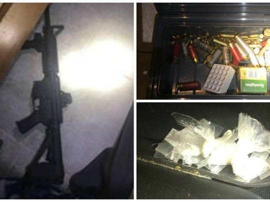 Located during a search of the house where George Thompson was arrested Thursday was 254 grams of marijuana, 22 grams of cocaine, a Century Arms .45 cal pistol, a Kel Tec .22 cal pistol (Stolen), a LWRC .223 cal rifle (stolen), nine AK magazines, two .223 magazines, and numerous calibers of ammunition.