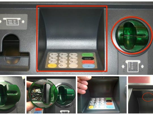 Clockwise, from top photo, two areas of concern are near the keypad and the card reader with skimmer devices and a small camera to capture PINs.