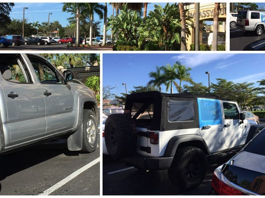 Vehicles with smashed windows, some covered by blue tarps, are parked at two hotels in Estero where more than 60 vehicles were broken into on Christmas morning.