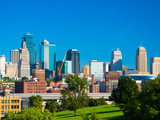 Kansas City Skyline with Park and Blue Sky