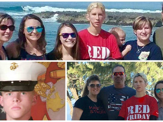 Clockwise, family members of some of the 12 marines