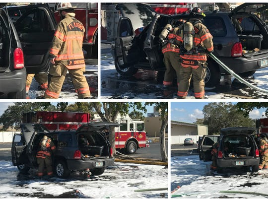 Th Fort Myers Fire Department was called to h Fort Myers Red Lobster on Cleveland Avenue on Sunday to put out a SUV on fire.